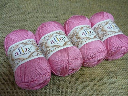 100% Microfiber Acrylic Yarn Alize Forever Thread Crochet Knitting Art Summer Yarn Lot of 4 skn 200 gr 1308 yds color #39 Pink