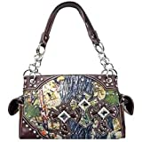 Canvas Camo Triple Rhinestone Cross Satchel Purse Camouflage (brown)