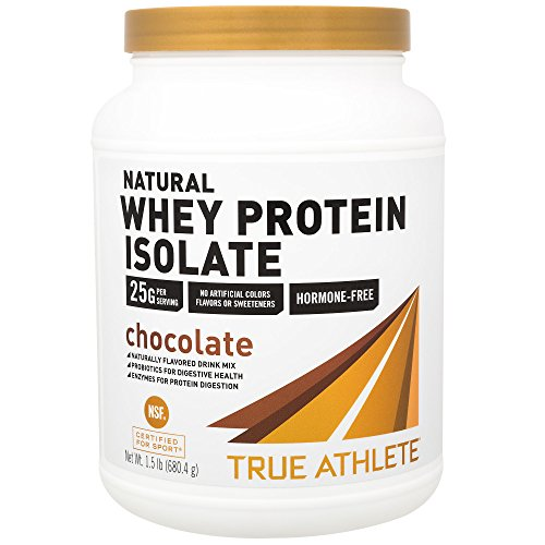 True Athlete Natural Whey Protein Isolate Chocolate, 25g of Protein per Serving Probiotics for Digestive Health, Enzymes for Protein Digestion NSF Certified for Sport (1.5 Pound Powder) (Best Protein For Athletes)