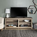 "WE Furniture Minimal Farmhouse Wood Universal Stand for TV's up to 64"" Flat Screen Living Room Storage Shelves Entertainment Center, Driftwood"