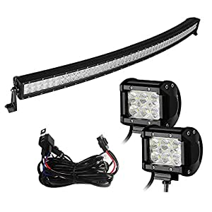 Yitamotor 52 Inch Curved Led Light Bar Cool White + 2PCS 4 Inch 18W Flood Light Pod with Switch Wiring Harness for Offroad Driving Jeep Truck Car ATVs 4x4 4WD