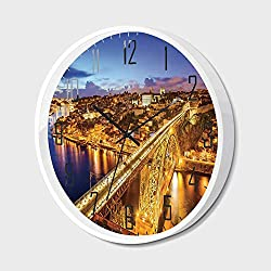 Non Ticking Wall Clock Silent with Metal Frame HD Glass Cover,City,Porto Dom Luis Bridge at Night River Portuguese Coast Mediterranean View Decorative,for Office,Bedroom,10inch