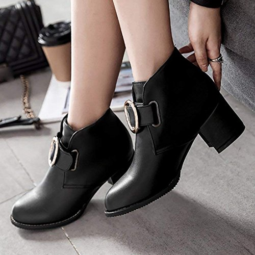 Warm Black Heel Winter Booties Buckle Women's Chunky Faux Shoes Boots Artfaerie Fur Ankle O7fzWnq