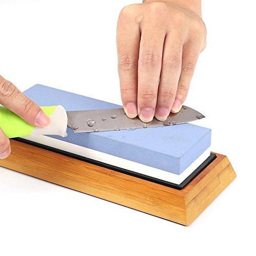 Premium Whetstone(White Corundum) 2 Sided Grit 1000/6000(Kitchen Blade Sharpening Stone with Slip-Resistant Silicone Base)|Best Knife Sharpener|Nonslip Bamboo Base & Angle Guide by Carzy potato (Image #4)
