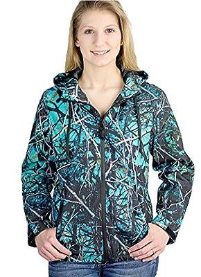 Muddy Girl Serenity Camo JP Light Windbreaker Zipper Hoodie Jacket Turquoise Blue