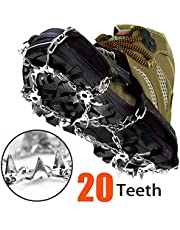 20 Spikes Crampons Ice Snow Grips Traction Cleats System Safe Protect for Walking, Jogging, Climbing Hiking on Snow and Ice (Black-L)