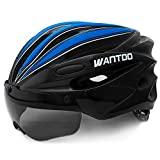 Wantdo Bike Helmet with Removable Magnetic Goggles Visor Mountain Road Bicycle Helmet Adjustable Adult Cycling Helmet BMX Helmet for Men Women Youth