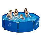 Jilong-6920388626408-Stahlrahmenbecken-Pool-Set-mit-Kartuschen-Filterpumpe-Leiter-Boden-und-Abdeckplane-Durchmesser-540-x-122-cm-sirocco-blau
