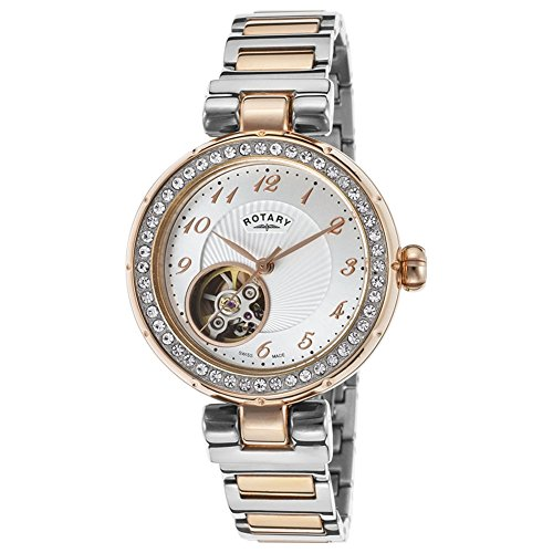 Rotary Lb001-A-22 Women's Auto Two-Tone Stainless Steel Silver-Tone Dial Rose-Tone Ss Watch
