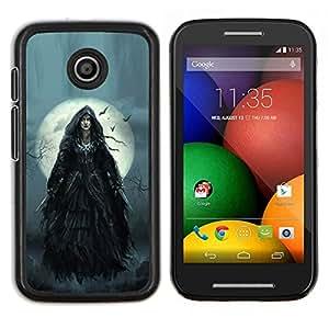 EJOOY---Cubierta de la caja de protección para la piel dura ** Motorola Moto E ** --Luna la noche de Halloween Gris