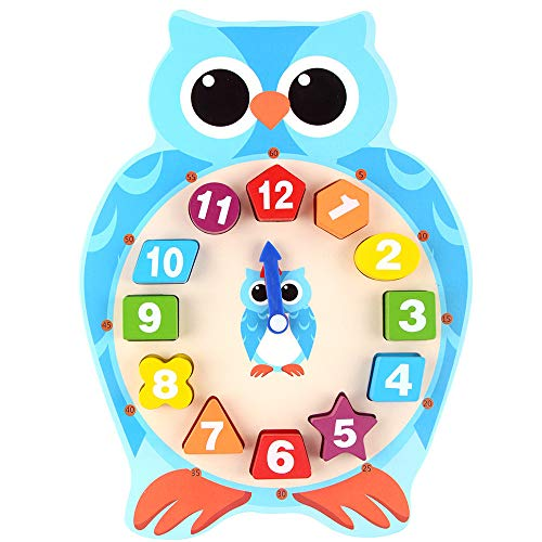 Honey Wooden Storage Kids (JPJ(TM)1Pcs Hot Creative Animal Wooden Clock Puzzle 12 Numbers Match Child Early Educational Toy Gifts (Green))