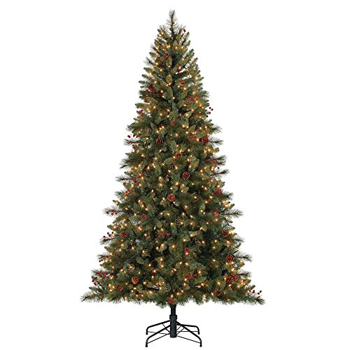 Hallmark Northern Escape 7.5' Pre-Lit Christmas Tree with Pine Cones & (Pre Lit Cone)