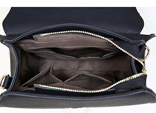 Klein Damentasche Umhängetasche Schultertasche Leder Handtasche Messenger Bag Schwarz