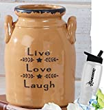 Gift Included-  Decorative Farmhouse Country Kitchen Primitive Utensil Crock or Flower Vase Live Love Laugh + FREE Bonus Water Bottle by  Homecricket