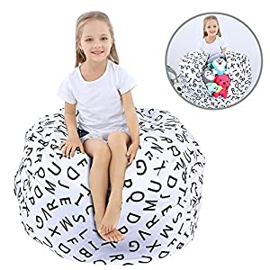 WOYAGE Stuffed Animal Bean Bag Storage Chair | Stuffed Animal Storage Sack |Stuff n Sit Kids' Furniture | Childrens Bean Bag Chairs ((Letter, L)