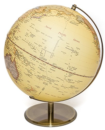 Globe of the world with raised-relief & bronze base 12