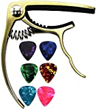 Soarun Guitar Capo with 6 Free Picks for Acoustic and Electric Guitars, Quick Change Ukulele & Banjo Capos(Gold)