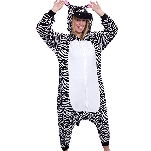 Silver Lilly Unisex Adult Pajamas - Plush One Piece Cosplay Zebra Animal Costume