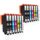GPC Image Compatible for Epson 24XL 24 XL Ink Cartridges for Epson Expression Photo XP 55, XP 750, XP 760, XP 850, XP 860, XP 950, XP 960 Printer -14 Pack (4 Black,2 Cyan,2 Magenta,2 Yellow,2 LC,2 LM)