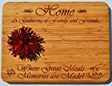 GIFT FOR FAMILY / FRIEND ~ Personalized Large Bamboo Cutting Board ~ Unique 2-Sided Design ~ Engraved HOME Side Designed For Décor ~ Reverse Side For Usage W/ Juice Groove ~ Christmas Birthday Gifts