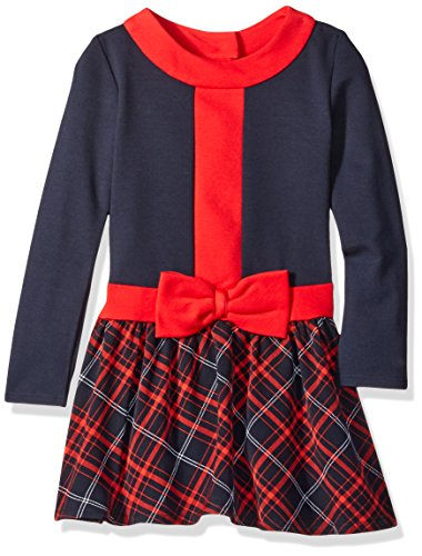 Rare Editions Little Girls' Long Sleeve Plaid Dress with Bow, Red/Navy, (Navy Red Plaid Dress)