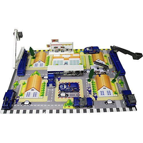 Die Cast City Police Force Vehicle and Town Set with 40 Unique Police Cars and Scenic Pieces along with City Scene Play Mat, Tons of Fun, Great for Kids by Dimple