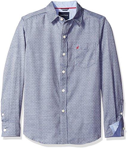 Nautica Little Boys' Long Sleeve Dot Print Shirt, Sport Navy, Extra Large (Dot Print Shirt)