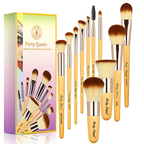 Party Queen Bamboo Makeup Brushes Set 11 Pieces Professional Kabuki Foundation Blending Blush Concealer Eye Face Powder Cosmetics Brush Kit With (Face Powder Kit)