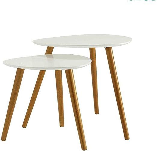 Table XIA Mesas Nido Juego de 2 mesas de Centro Mesa Auxiliar de Extremo Redondo Mesa de Mesa de Noche para Sala de Estar Hogar y Oficina 3 Colores (Color : Blanco):