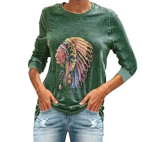[해외]Shirt for Women Long Sleeve Casual Round Neck Print Baggy Loose Fit Tunic Tops Blouse / Shirt for Women Long Sleeve Casual Round Neck Print Baggy Loose Fit Tunic Tops Blouse (S, Green)