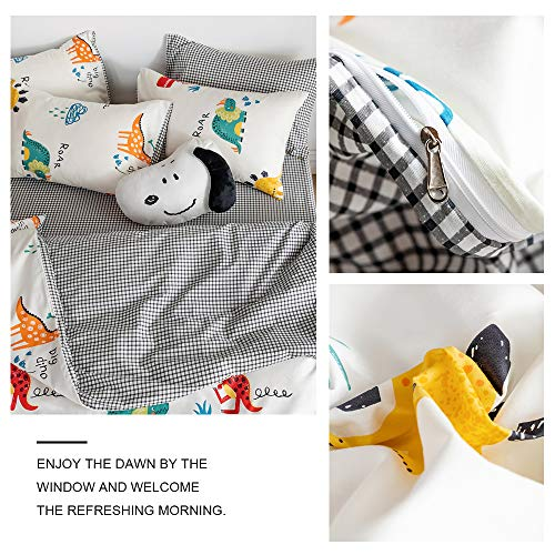 XUKEJU Reversible 3 Pieces Forest Duvet Cover Cartoon Animal Print Bedding Set 100% Cotton Quilt Cover Full/Queen Size for Boys/Girls