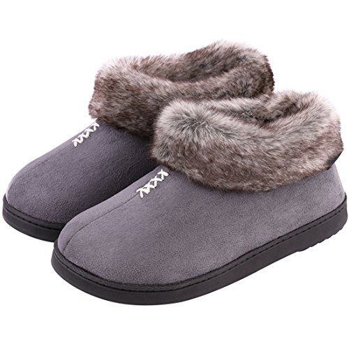 Women's Cozy Memory Foam Slippers Fluffy Micro Suede Faux Fur Fleece Lined House Shoes with Non Skid Indoor Outdoor Sole (XX-Large / 11 B(M) US, Gray)