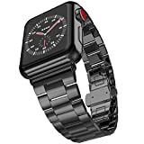 iiteeology Ultra Thin 42mm Stainless Steel Replacement Band for Apple Watch Series 3/2/1 Men - Black