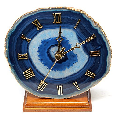The Royal Gift Shop Decorative Agate Desk Clock with Gold Plated Rim (Blue)