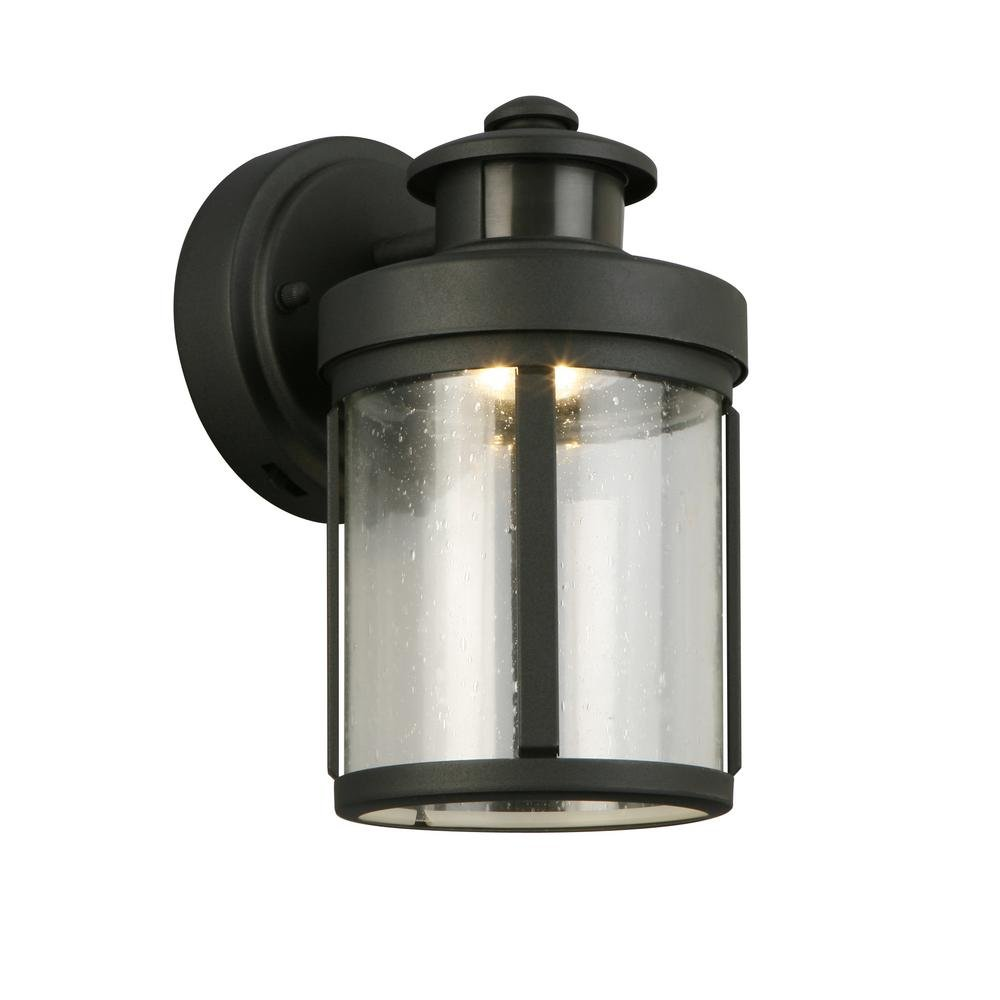 Hampton bay black motion sensor outdoor integrated led small wall mount lantern amazon com