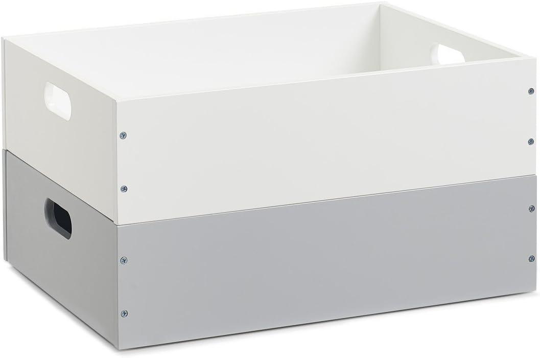 Zeller 13352 Caja, apilable, MDF, Blanco: Amazon.es: Hogar
