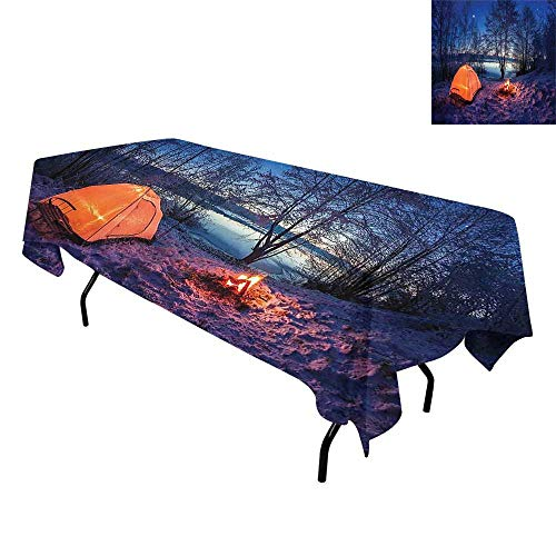 Forest,Tablecloth for Kitchen Dining Tabletop,Dark Night Camping Tent Photo in The Winter on The Snow Covered Lands by The Lake,for Dining Room,W54 x L72 Inch Blue Orange