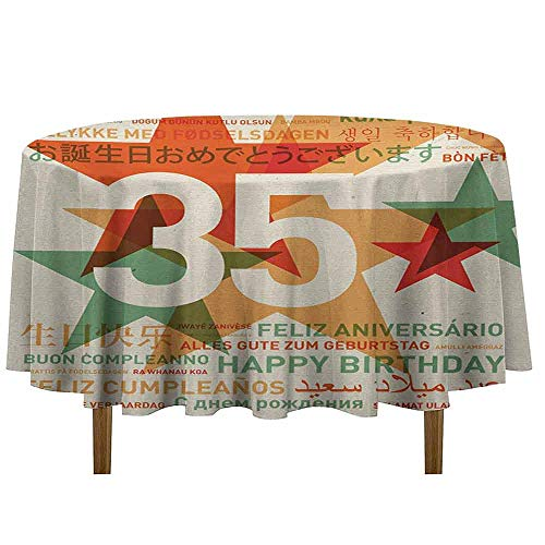 (Douglas Hill 35th Birthday Leakproof Polyester Tablecloth Stars and Greetings in Different Languages Old Fashioned Style Backdrop Image Outdoor and Indoor use D70 Inch)