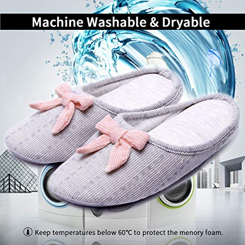 Bow House Slippers Non Cashmere Soles Slip Grey Cotton Foam Cute Memory Toe closed Women's 7ITpnqA7