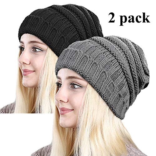ZOORON Women Warm Slouchy Beanie Hats,Oversized Stretch Cable Knit Chunky Winter Skull Caps,Soft Crochet Baggy Hats