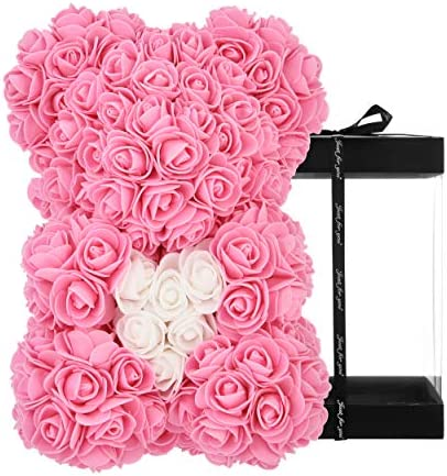 Rose Bear - rose teddy endure -Over 250+ Flowers on Every Rose Bear Perfect for Anniversary's, Birthdays, Bridal Showers, Mothers, Etc. - Clear Gift Box Included! 10 Inches (red)