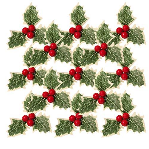 30 piezas de simulación navideña de bayas de acebo con hojas verdes,hojas verdes de bayas de acebo artificiales para bodas,arreglos de guirnaldas navideñas