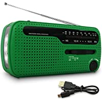 TOTAL SURVIVAL Green Compact Dynamo Solar Hand Crank AM/FM NOAA Weather Emergency Radio, Smart Phone Charger & Flashlight