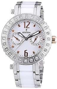 Festina F16587/2 - Reloj analógico de pulsera para mujer (mecanismo de cuarzo, esfera blanca y correa de acero inoxidable blanco)