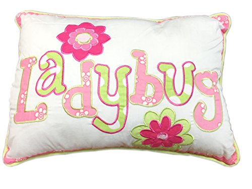 Cozy Line Home Fashions Cute Letters Throw Pillow, Embroidered Ladybug Print Pattern Stuffed Toy Doll Decorative Pillow, 100% Cotton, Gifts Kids, Girls (Letter, Decor Pillow - 1 Piece) …