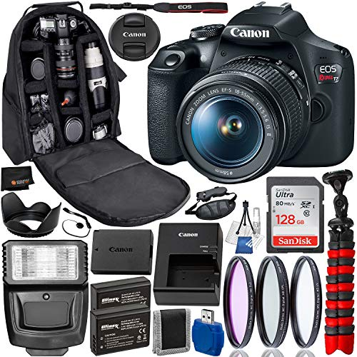 Canon EOS Rebel T7 DSLR Camera with 18-55mm Lens Professional Bundle Package Deal – USA Warranty – SanDisk Ultra 128GB…