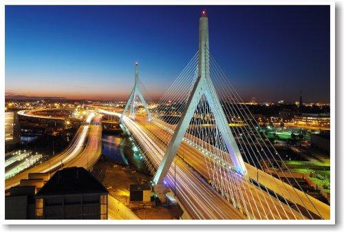 Boston Zakim Bridge At Night - NEW Travel Poster