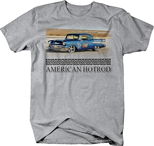 57 Chevy Hot Rod (American Hotrod Chevy 57 Belair Coupe Racing Original Muscle Tshirt - Large)