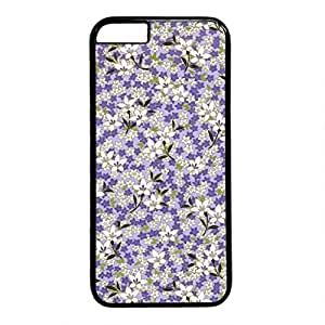 iCustomonline Little White and Blue Flower Persontive Custom for iPhone 6 (4.7 inch) Thin Flexible PC Black Case