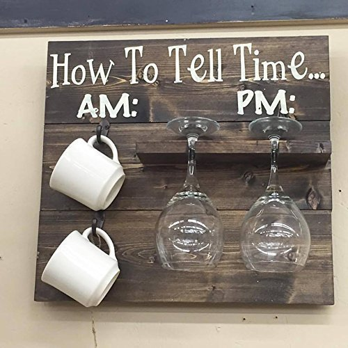 How To Tell Time - Coffee and Wine Glass Holder by Southern Merle Woodworks